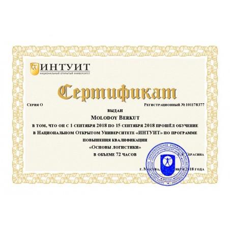 """Сертификат """"Основы логистики"""""""