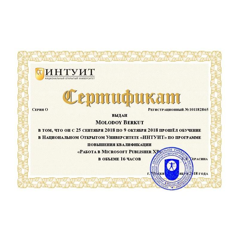 """Сертификат """"Работа в Microsoft Publisher XP"""""""