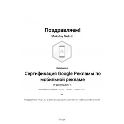 """Сертификат Google Ads """"Мобильная реклама"""""""