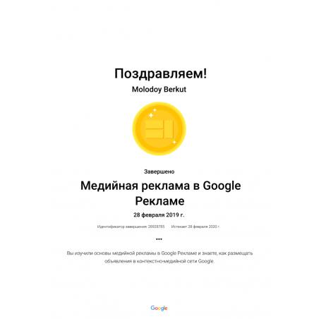 """Сертификат Google Ads """"Медийная реклама"""""""