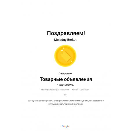 """Сертификат """"Реклама в Google Покупках"""""""
