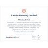 "Сертификат специалиста Hubspot ""Content Marketing"" 2019"