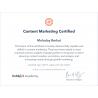 Сертификат специалиста Hubspot Content Marketing 2019