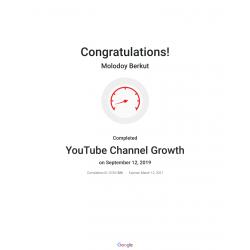 Сертификат YouTube Channel Growth