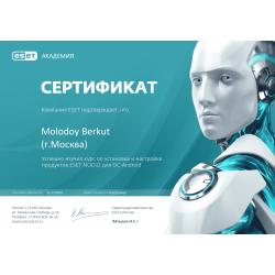 """Сертификат """"Установка и настройка продуктов ESET NOD32 для ОС Android"""" 2020"""