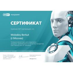 """Сертификат """"Установка и настройка продуктов ESET NOD32 для ОС Windows (для интернет-провайдеров)"""" 2020"""