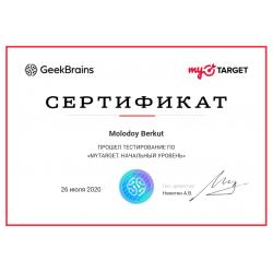 """Сертификат """"myTarget. Начальный уровень"""""""