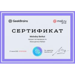 "Сертификат ""База данных MySql"""