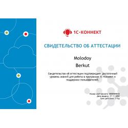 """Сертификат """"Возможности программы 1С-Коннект"""""""