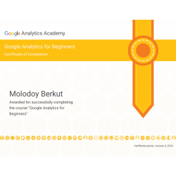 "Сертификат ""Google Analytics For Beginners"" 2021"