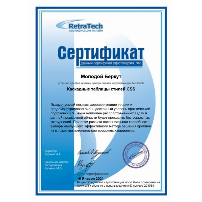 """Сертификат RetraTech """"Каскадные таблицы стилей CSS"""" 2021"""