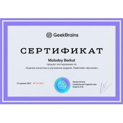 """Сертификат """"Оценка качества и улучшение модели. Пайплайн обучения"""""""