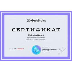 """Сертификат """"Таргетная реклама в TikTok"""""""