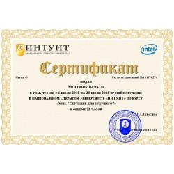 """Сертификат """"Intel """"Обучение для будущего"""""""""""
