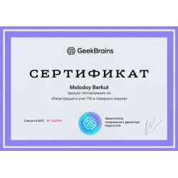 """Сертификат """"Регистрация и учет ПО и товарных знаков"""""""