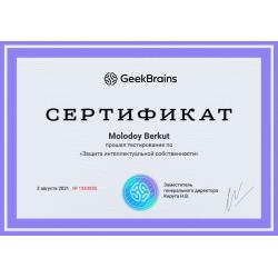 """Сертификат """"Защита интеллектуальной собственности"""""""