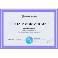 """Сертификат """"Тест по Интернет-маркетинг. Аналитика и эффективность рассылок"""""""
