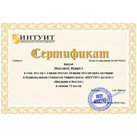 """Сертификат """"Введение в BouJou"""""""