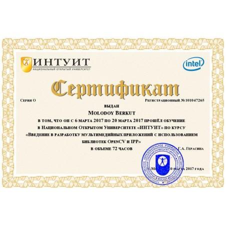 """Сертификат """"Введение в разработку мультимедийных приложений с использованием библиотек OpenCV и IPP"""""""