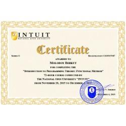 """Сертификат """"Введение в теорию программирования. Функциональный подход"""""""