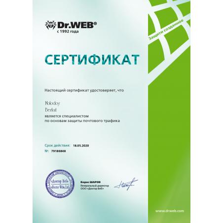 Сертификат DWCERT-070-4 Общие принципы защиты почтового трафика
