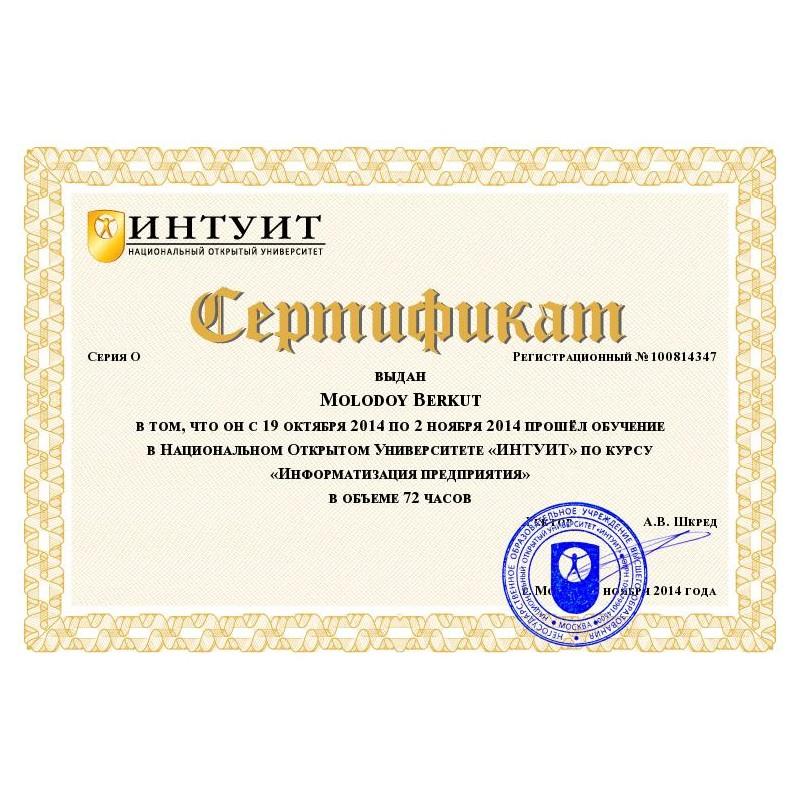 """Сертификат """"Информатизация предприятия"""""""
