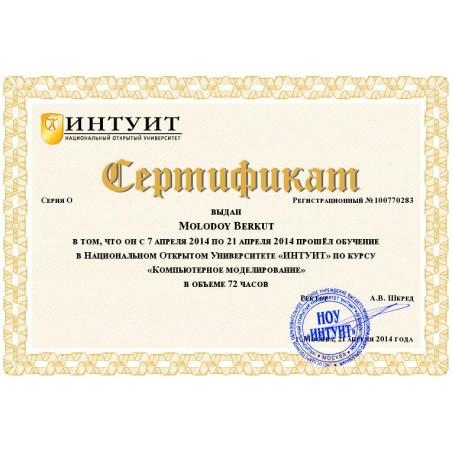 """Сертификат """"Компьютерное моделирование"""""""