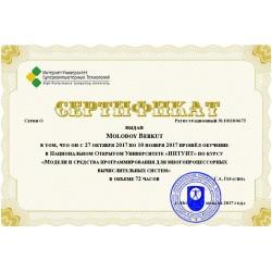 """Сертификат """"Модели и средства программирования для многопроцессорных вычислительных систем"""""""