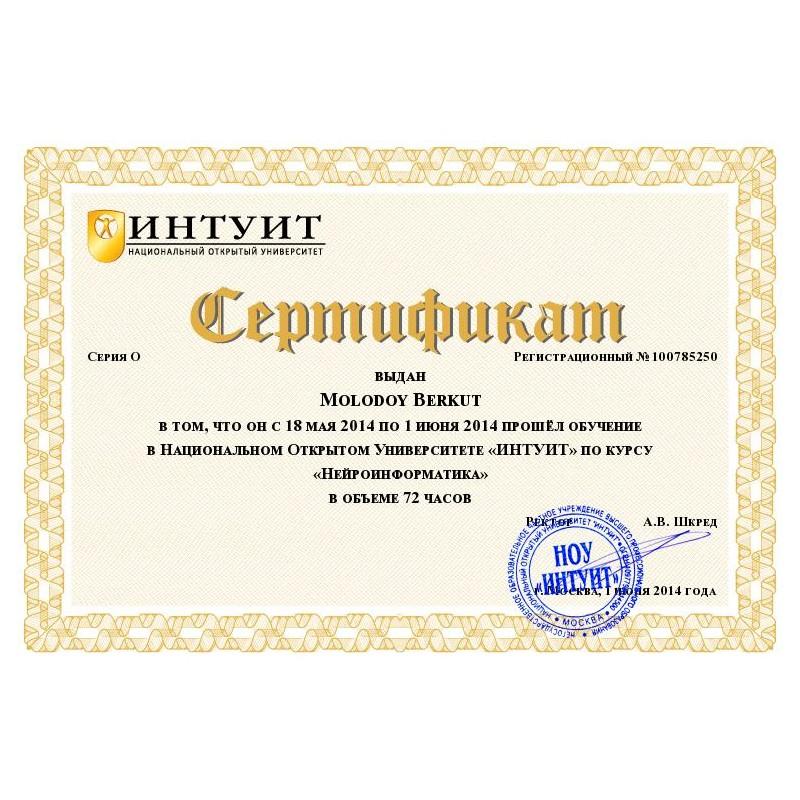 """Сертификат """"Нейроинформатика"""""""